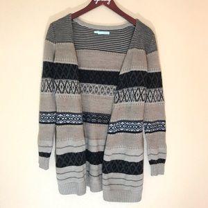 Cute striped pattern brown tone long open cardigan